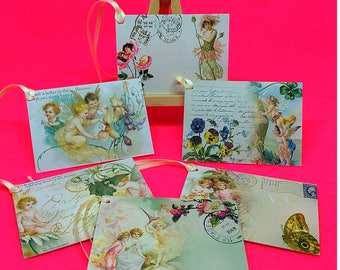 Fairy tags gift labels fairy garden vintage style handmade set of 6 pretty fairies tags journalling gift wrapping scrapbooking