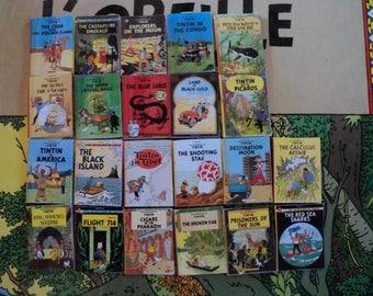 "Miniature comics ""Tintin""with english titles, 1:12th scale"
