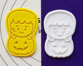 Cute Frankenstein on  the Pumpkin Cookie Cutter and Stamp