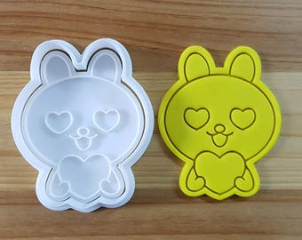 Bunny Falling in Love Cookie Cutter and Stamp