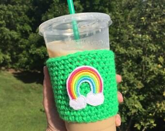 Rainbow gifts - Rainbow pride - Crochet cup cozy - Coffee cup sleeve - Coffee cup cozy - Coffee cozy - Crochet coffee cozy - Cup sleeve