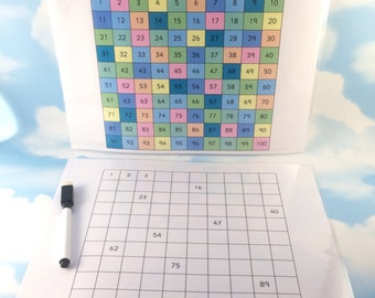 Hundred square, 100 grid, wipe clean, school maths aid, Children's development, KS1/KS2, Numbers to 100, Numeracy Teaching Resource