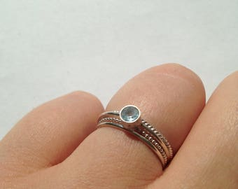 Stack rings, ring, gemstone, precious stone, blue, aqua, blue, silver, 925 sterling silver, Pearl, drop, 1 mm, 4 mm, hand made,