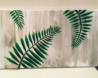 Palm leaf botanical fern green original painting wall art tropical wall art home decor