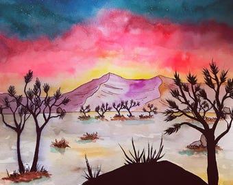 Joshua tree painting / desert watercolor / travek art / original painting / galaxy sky