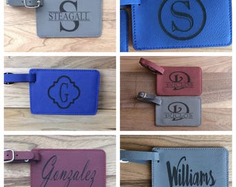 Personalized luggage tag bag tag, laser engraved leatherette luggage tag, custom leather luggage tag, luggage tag, bag tag, travel gift, mr