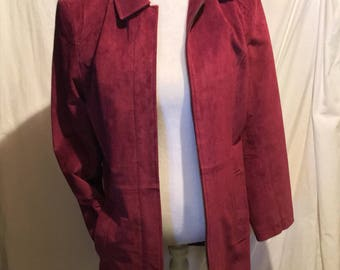 Vintage Red Suede Upcycled Coat