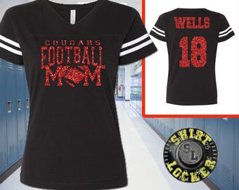 Custom Name and Number Football Mom Glitter Womens Tee Support Your Team Son Any Number Any Colors Spirit Wear Gear