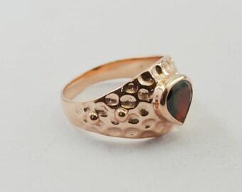 well-formed Rose Gold Garnet Gems 925 Sterling Silver Ring Designer gift