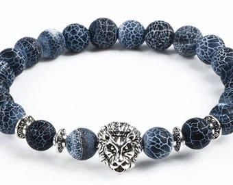 Lion bracelet stone for men or woman blue stone charm