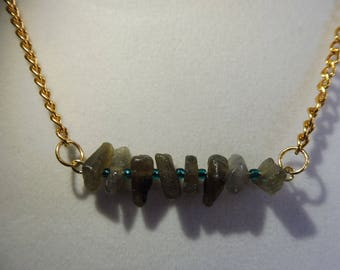 Labradorite Bar Necklace | Gemstone Necklace | Labradorite Gemstone Necklace