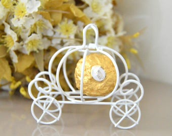 Cinderella pumpkin carriage Wedding favor box idea Pumpkin wedding decorations Wedding candle holder Princess carriage Baby shower favor box