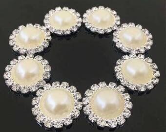 Pearl Rhinestone Buttons-Rhinestone Embellishment-Rhinestone Buttons-Crystal Embellishments