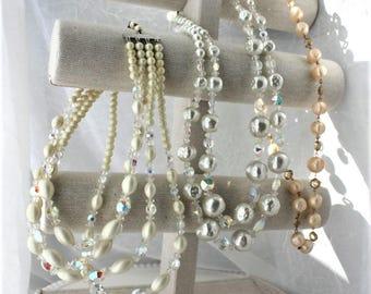 Vintage Bead Destash Necklace Lot Aurora Borealis Wedding Repurpose Multistrand Jewelry