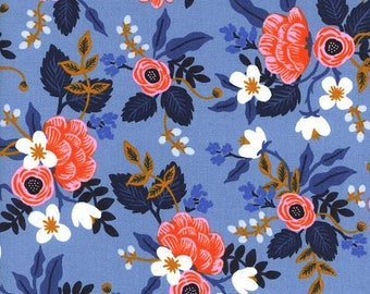 Rifle Paper Co Fabric - Les Fleurs Birch Periwinkle - Cotton + Steel Fabric - Quilting Cotton - Blue Pink Floral - Fabric by the Yard