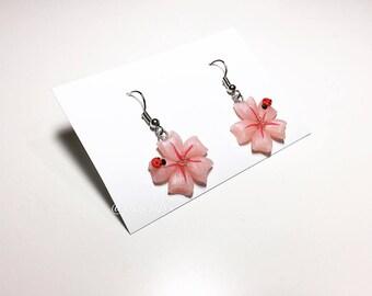 Sakura and Ladybug earrings
