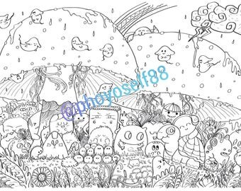 Mushroom In the Rain Doodle Coloring Page- Doodle Art