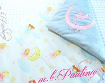 Fairy baby blanket with fairy stick and possible with soft light blue plush minky, personalization