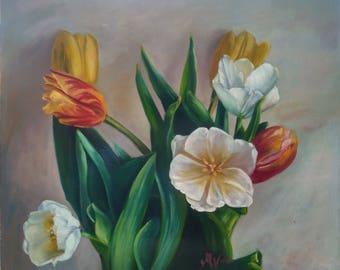Still life Tulips Original Floral Oil Painting Wall Art Handmade