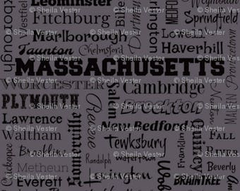 Massachusetts Cities fabric - MA typography fabric by the yard - gray or blue