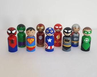 Superhero Peg Dolls -Set of 4, 5 or 6