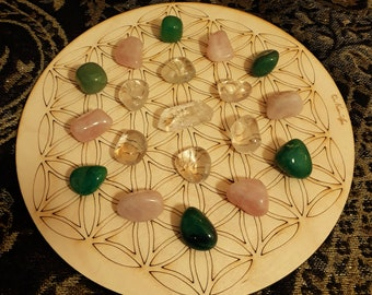 Pure Love Crystal Grid Set - Rose Quartz Green Aventurine Clear Quartz Tumble Stones + Quartz Point - Romance Intentions Open Heart Chakra