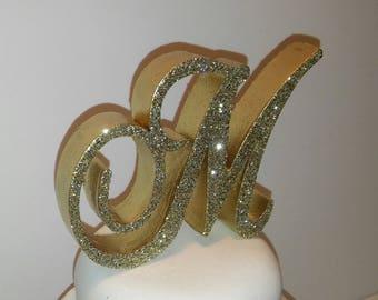 Custom monogram 3D wedding cake topper letter, Bling crystal sparkle