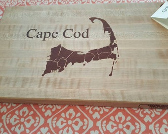Maple cutting board with Walnut map and Cape Cod inlay