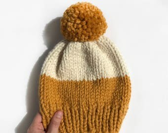 THE HAZEL HAT || Chunky Knit Hat || Mustard and White || Women's Knit Hat