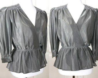 German Vintage Elegant Evening Top, Silver Sequin 1980s Formal Party Dressy Dynasty  European Evening Wear Separates: Size 6 US, Size 10 UK