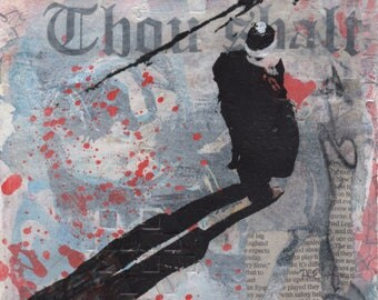 Fine Art Contemporary Urban mixed media painting on paper, Grey, Black, Red, Thou Shalt