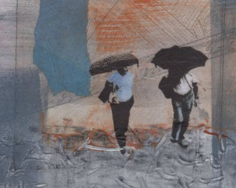 collage,painting,one of a kind,rainy day,urban art,blue,gray,wall decor,wedding gift,new home gift,people,umbrellas,texture,city street,