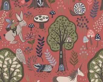 Enchanted Forest - A185.2 - Enchanted Forest On Dusky Red - from Lewis & Irene