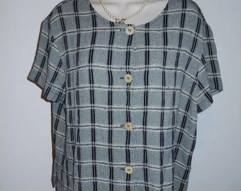 Vintage Carole LittleBlouse ~ Retro 1980's Black and Grey Plaid Blouse ~ Checkered Blouse ~ Rayon Blouse ~ Vintage Blouse