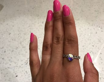 Ab Crystal silver chain ring