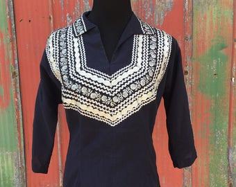 1950s Mexican cotton Shirt sz Medium 6