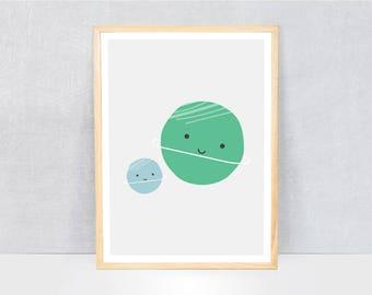 planets print / kids art print / boys room art print / kids wall art / cute illustration / bright colours / kids poster print