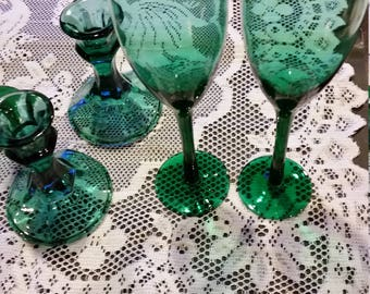 Vintage Green Glass Champagne glass set 2/ emerald green set