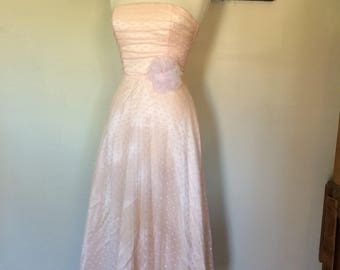 PEONY Tea Length Scott/Jessica McClintook vintage prom dress in pastel peach