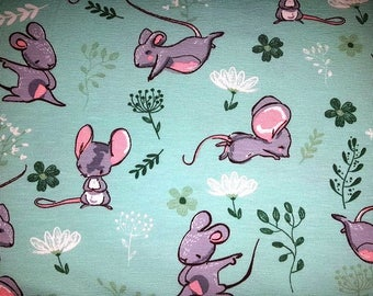 Jersey cute forest friends mouse - mint