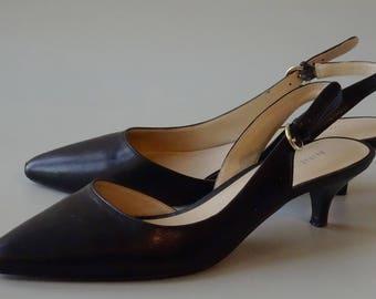 Nine West Kitty Heel Black Leather Women's Shoes