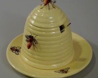 Beehive Bumble Bee Honey Pot Bombini Italian Art Pottery