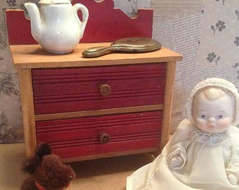 Antique/Vintage Wood Doll Two Drawer Dresser with Red Accents on the Drawer Fronts and Back-Splash