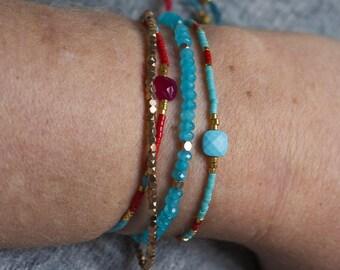 Bracelet gemstones & pearls 970/1000 silver