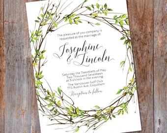 Green wreath Wedding invitation, Woodsy wedding, Greenery wedding invite, Green Leaves invite, Rustic Greenery, Watercolor Wreath, Outdoor