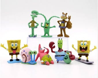 Spongebob cake topper 8 piece figures Spongebob Square pants birthday party sponge bob cake toppers  FAST SHIPPING Spongbob party favors