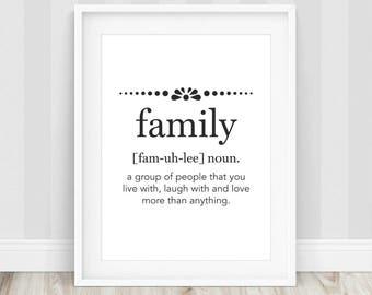 Family Definition Art - Family Definition Print, Family Wall Art, Family Print, Family Definition, Affiche Definition, Definition Prints
