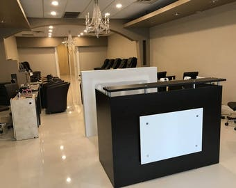 "DFS Designs Reception desk shell which fits a 15"" monitor - 60"" W by 30"" D by 44"" H Espresso and White front"