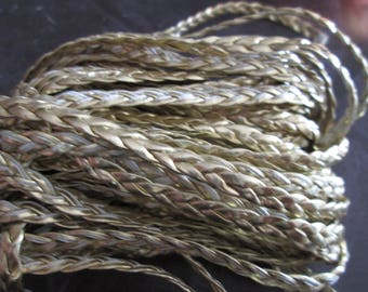 faux Gold 5 mm flat braided leather cord