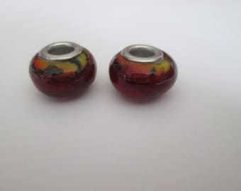 2 red and black European glass 14 mm way Murano beads